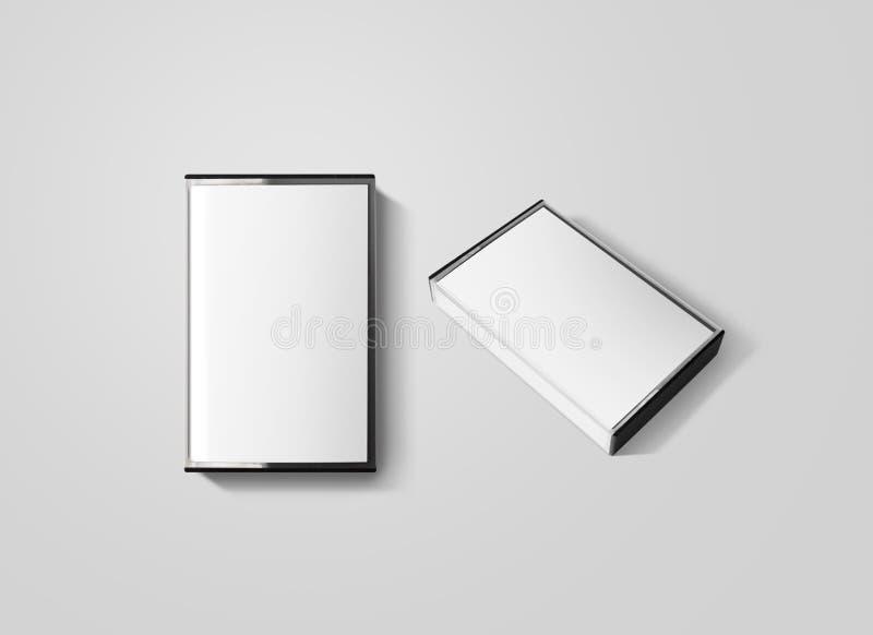 Пустой модель-макет дизайна коробки кассеты, изолированный, верхний и взгляд со стороны стоковая фотография rf