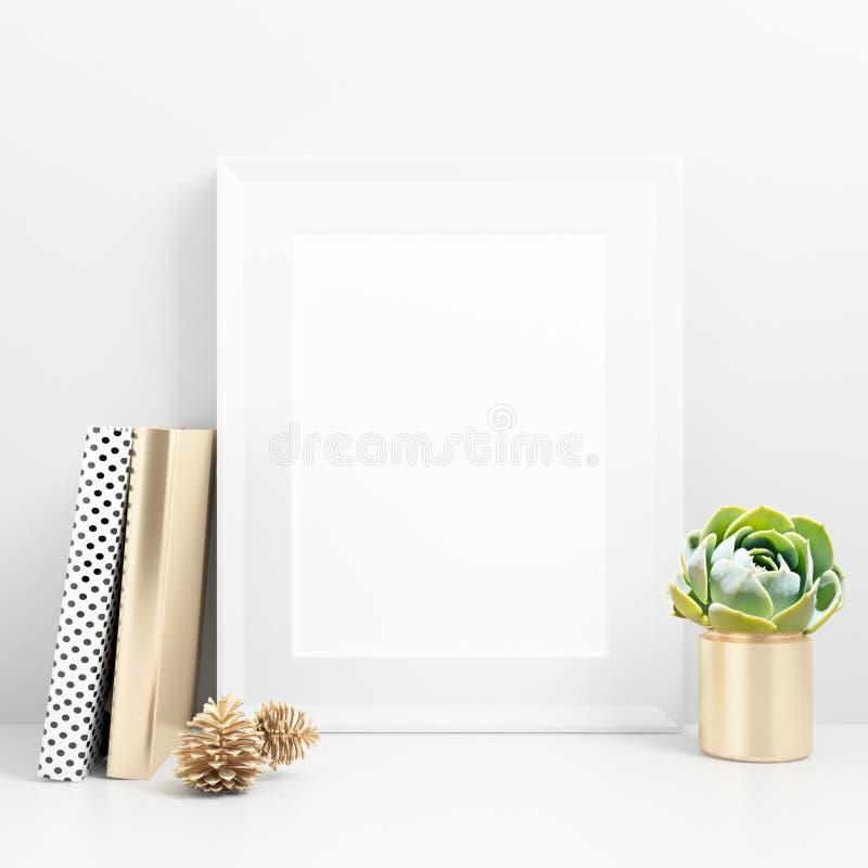 Пустой модель-макет рамки на столе бесплатная иллюстрация