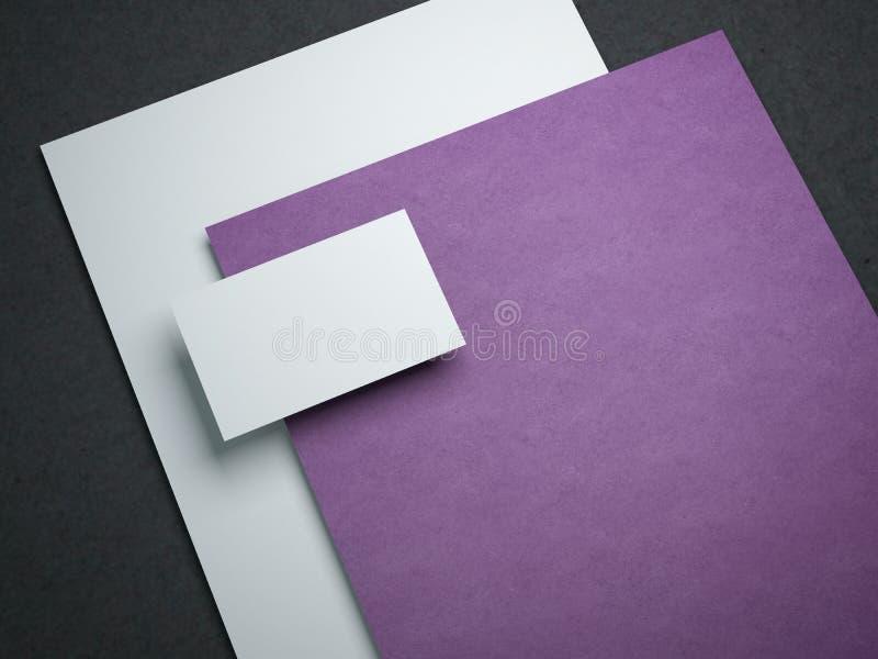 Пустой модель-макет с 2 бумажными листами и визитными карточками иллюстрация штока