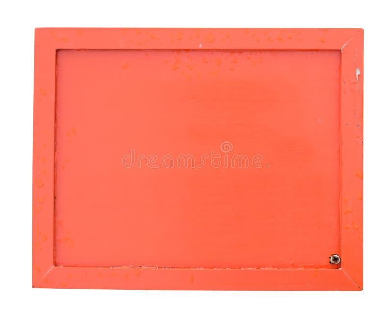 Пустой оранжевый деревянный знак изолированный на белизне с путем клиппирования стоковые фото
