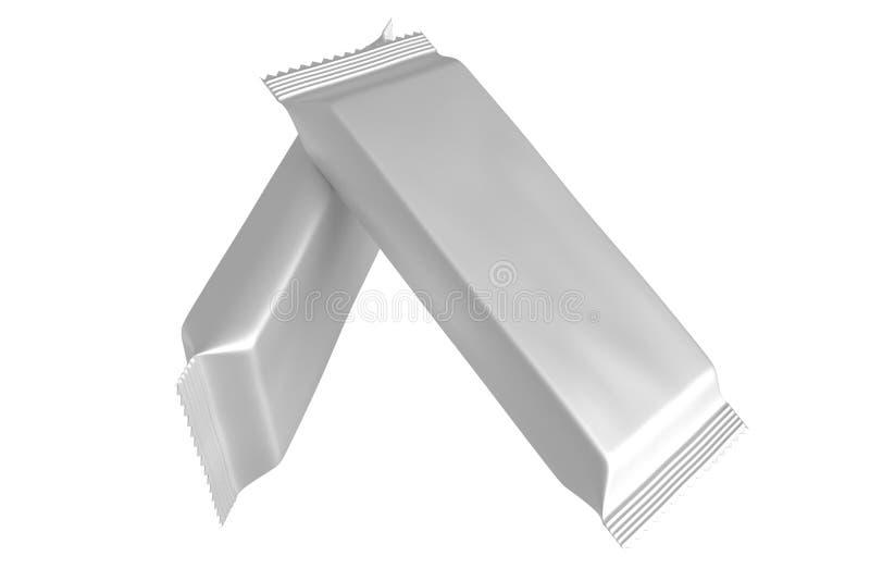 Пустой пакет шаблона для малых закуски, шоколада или конфеты Пластичный пакет иллюстрация вектора
