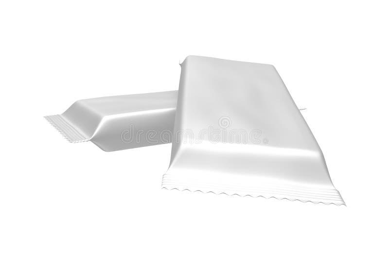 Пустой пакет шаблона для малых закуски, шоколада или конфеты Пластичный пакет иллюстрация штока