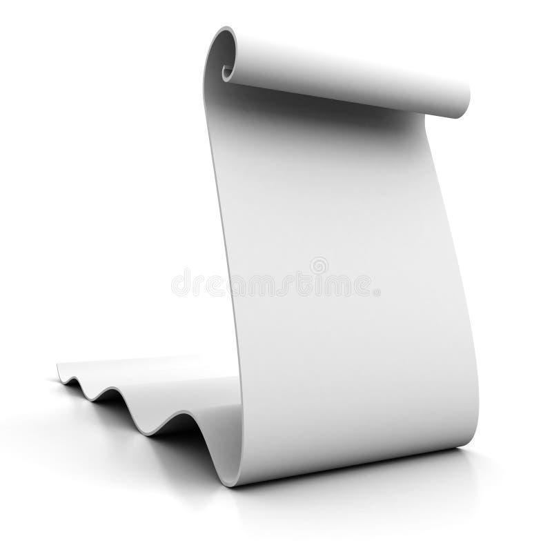 Пустой перечень белой бумаги иллюстрация вектора