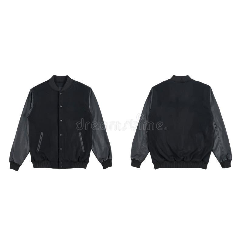 Пустой простой фронт куртки университетской спортивной команды и цвет заднего пакета пачки взгляда черный изолированный на белой  стоковое фото