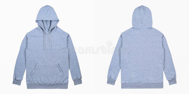 Пустой простой фронт hoodie пуловера и задний взгляд с цветом вереска серым, изолированным на белой предпосылке, готовой для ваше стоковые изображения rf