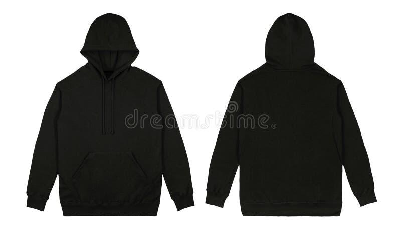 Пустой простой фронт hoodie пуловера и задний взгляд с черным цветом, изолированным на белой предпосылке, готовой для ваше насмеш стоковые изображения rf