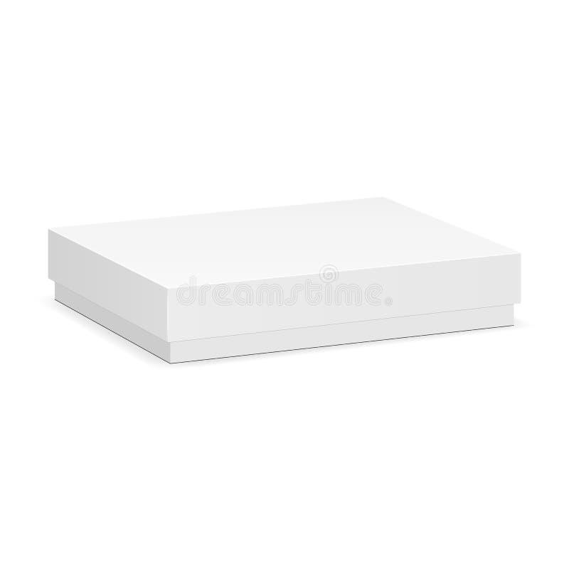Пустой прямоугольный модель-макет коробки при закрытая изолированная крышка иллюстрация штока