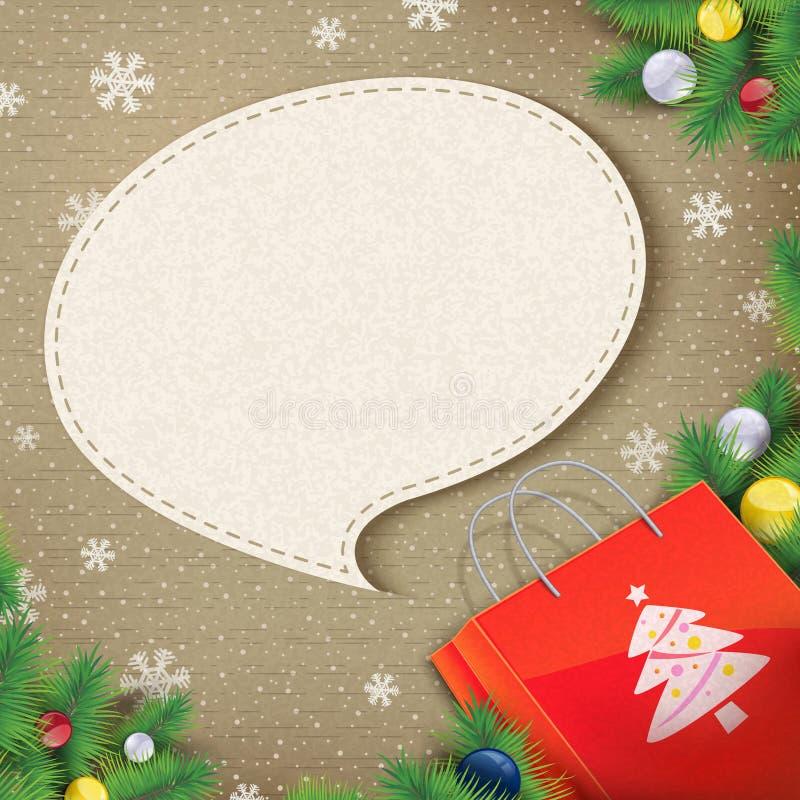 Пустой пузырь речи пришел вне от сумки рождества иллюстрация штока