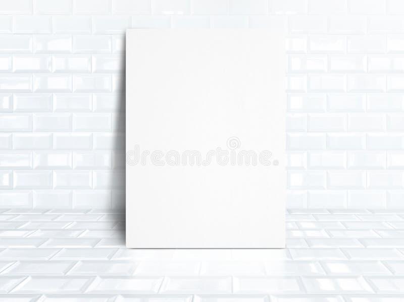 Пустой плакат белой бумаги на белизне кроет керамическую комнату черепицей, дело mo стоковое фото