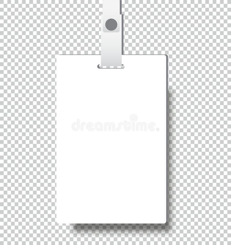 Пустой реалистический значок удостоверения личности с шаблоном крышки модель-макета ленты бесплатная иллюстрация