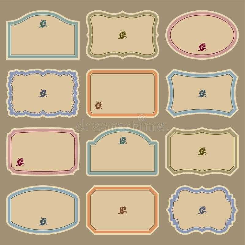 пустой сбор винограда вектора комплекта ярлыков