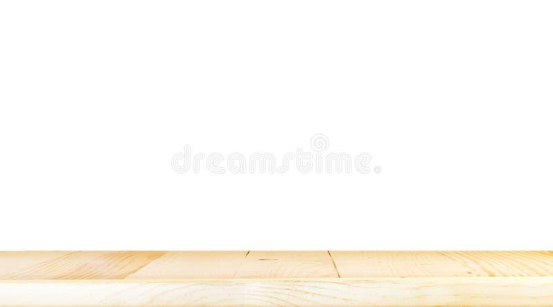 Пустой светлый деревянный изолят столешницы на белой предпосылке, sp разрешения стоковая фотография