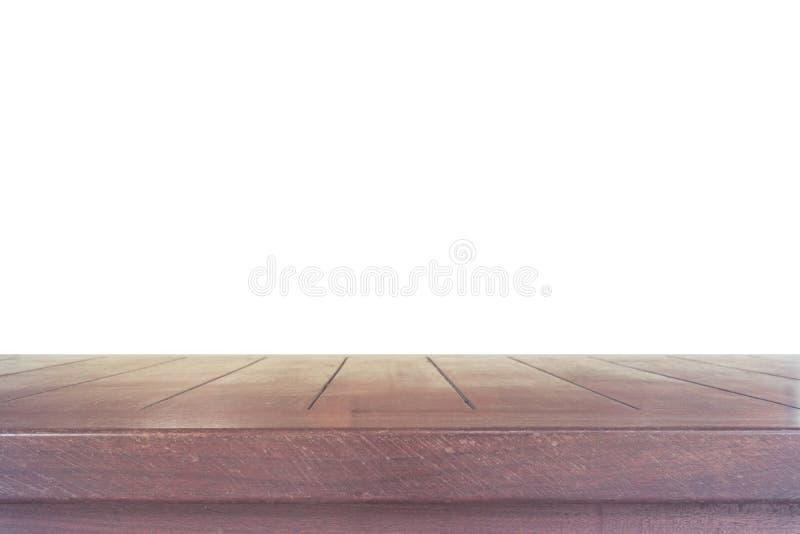 Пустой светлый деревянный изолят столешницы на белой предпосылке, sp разрешения стоковое изображение