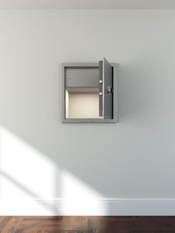 Пустой сейф металла в светлой комнате иллюстрация штока