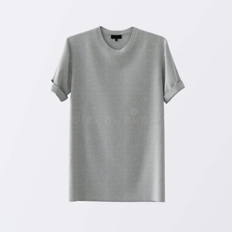 Пустой серой предпосылка хлопка изолированная футболкой разбивочная белая пустая Материалы текстуры модель-макета сильно детальны стоковые фото