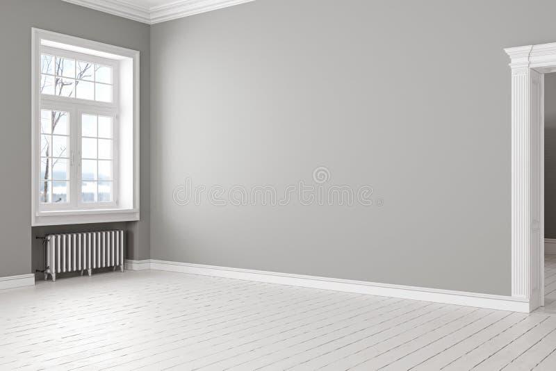 Пустой серый классический скандинавский интерьер просторной квартиры с окном и батареей бесплатная иллюстрация