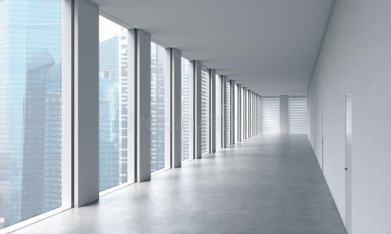 Пустой современный яркий чистый интерьер офиса открытого пространства Огромные панорамные окна с взглядом Сингапура Концепция рос иллюстрация вектора