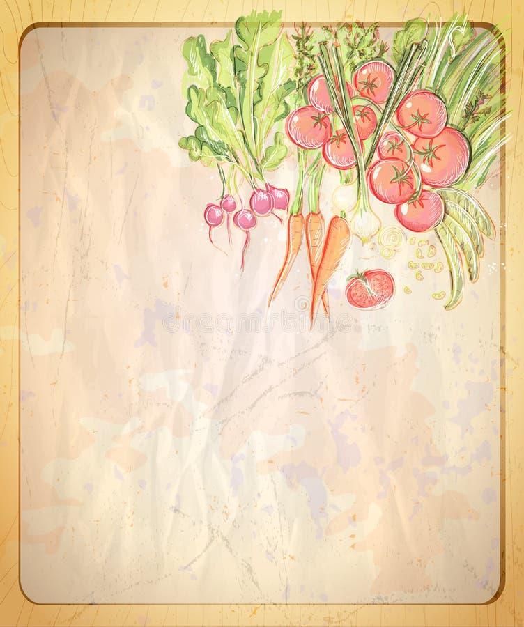 Пустой старый бумажный фон с иллюстрацией нарисованной рукой графической сортированных овощей иллюстрация штока