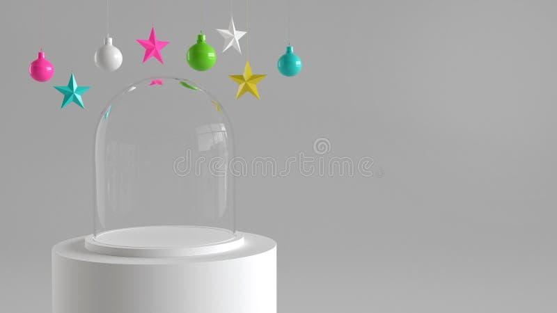 Пустой стеклянный купол с белым подносом на белом подиуме на белой предпосылке с висеть красочные шарики и орнаменты звезд иллюстрация штока