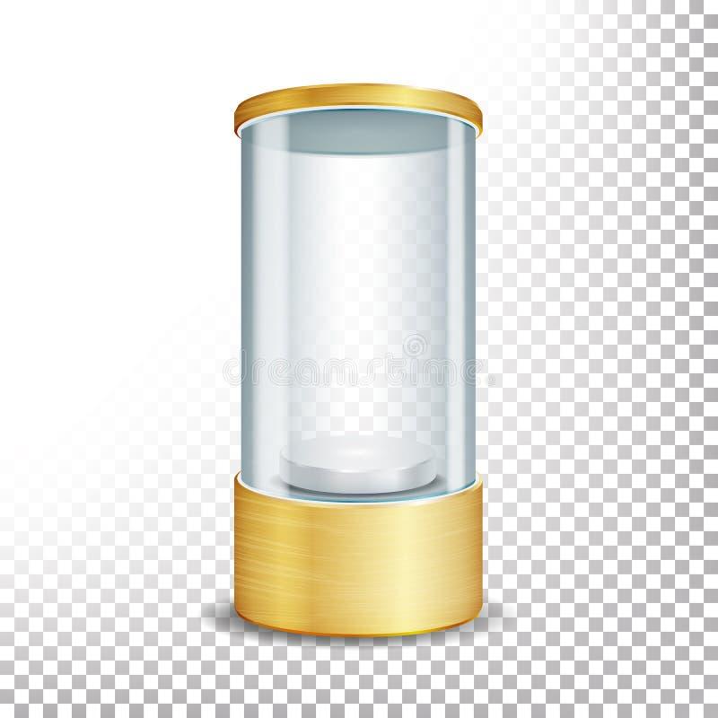 Пустой стеклянный подиум витрины с фарой и искрами Круглый пробел золота для экспоната и показывает ваш продукт Беда вектора реал бесплатная иллюстрация