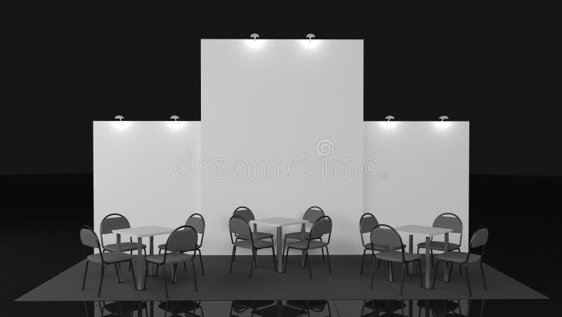 Пустой творческий дизайн стойки выставки с формами цвета Шаблон будочки Корпоративные метки и фирменный стиль 3d иллюстрация штока