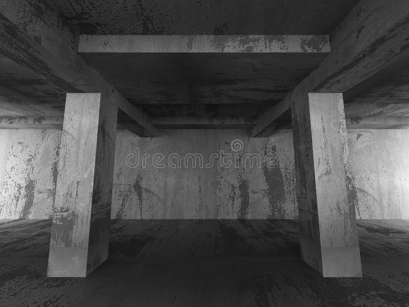 Пустой темный абстрактный конкретный интерьер комнаты Архитектура городской b бесплатная иллюстрация
