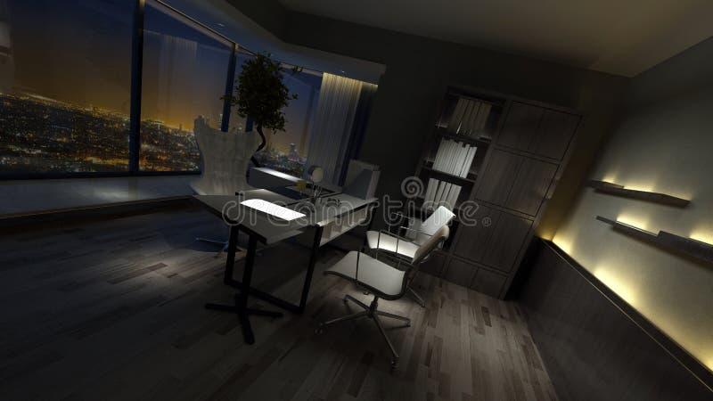 Пустой темный интерьер стильного домашнего офиса иллюстрация штока