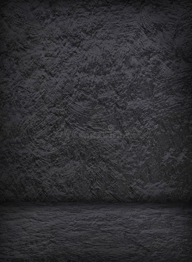 Пустой темный интерьер штукатурки с бетонной стеной и полом для шаблона стоковые изображения
