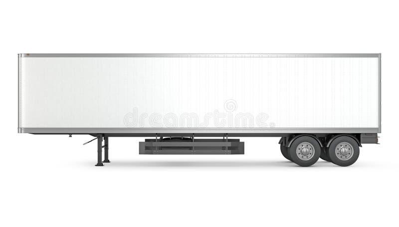 Пустой трейлер припаркованный белизной semi, взгляд со стороны иллюстрация штока