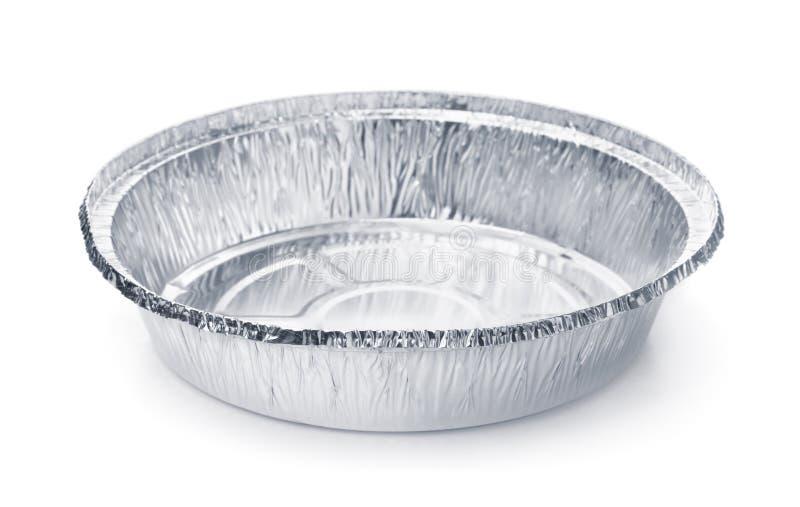 Пустой устранимый круглый алюминиевый контейнер фольги еды стоковые фотографии rf