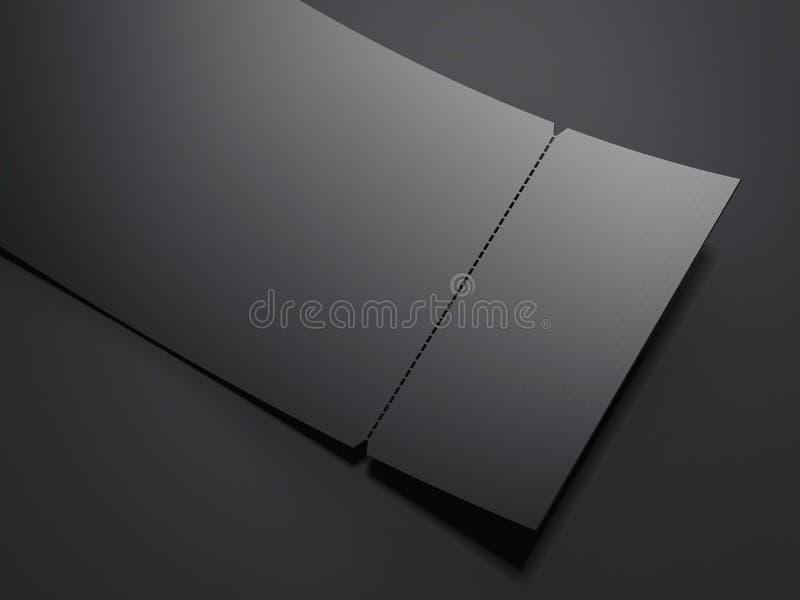 Пустой черный билет разрыва- перевод 3d иллюстрация вектора