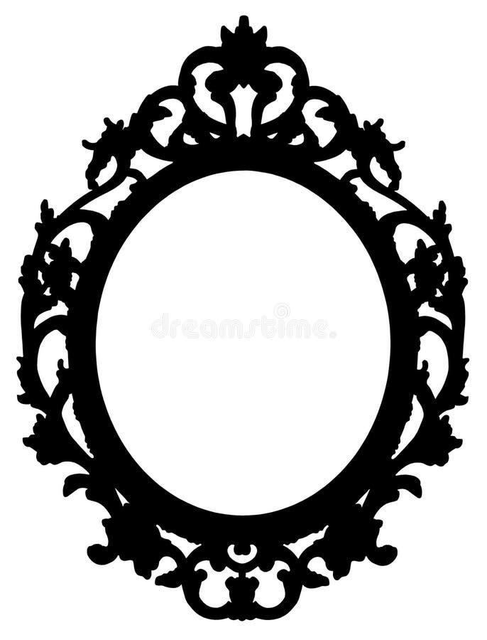 Пустой черный силуэт старой деревянной барочной рамки - изображение концепции с центральным космосом экземпляра на белой предпосы стоковая фотография rf