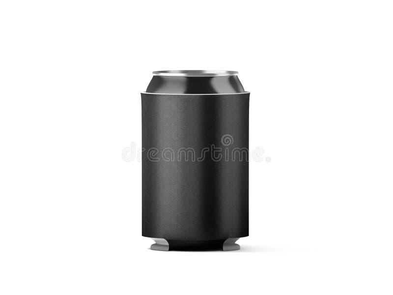 Пустой черный складный изолированный модель-макет koozie банки пива стоковое фото