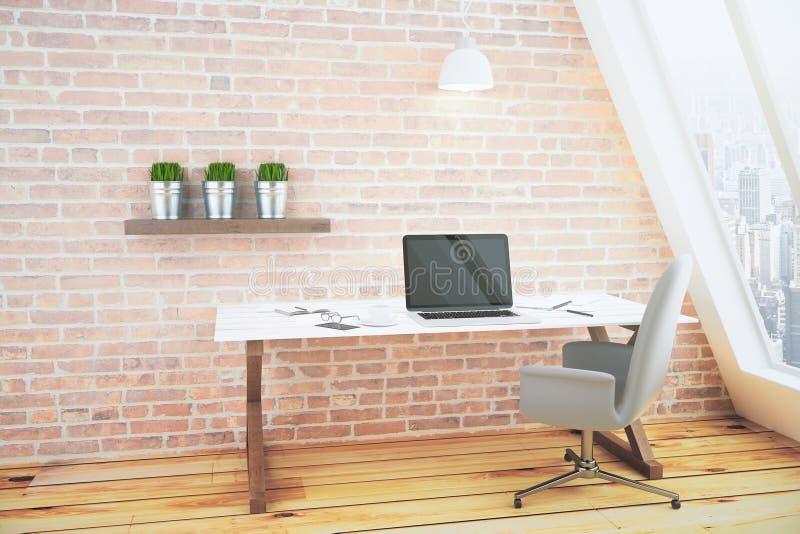 Пустой черный экран компьтер-книжки на белом деревянном столе в острословии комнаты просторной квартиры иллюстрация вектора