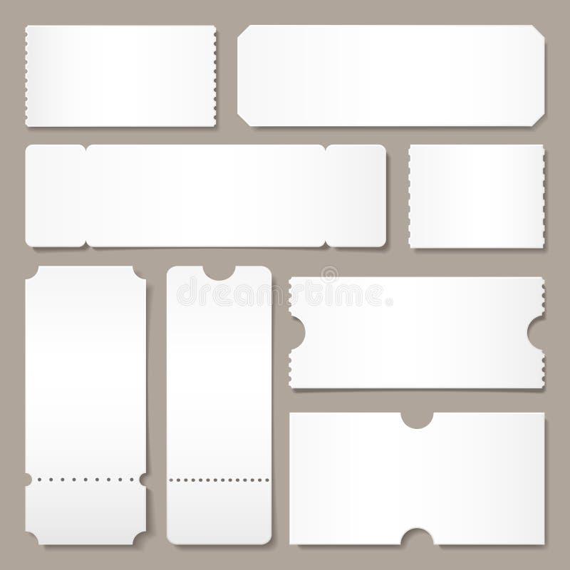 Пустой шаблон билета Билеты концерта фестиваля, план карты талона белой бумаги и кино допускают один изолированный лист иллюстрация вектора