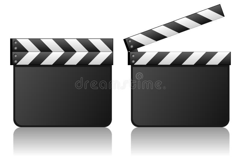 Пустой шифер пленки Clapboard кино иллюстрация штока