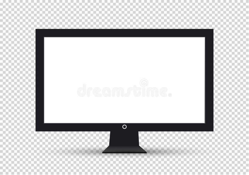 Пустой экран, плазменные дисплеи или ТВ LCD для вашего дизайна монитора компьютер или черная рамка фото, изолированные на прозрач бесплатная иллюстрация