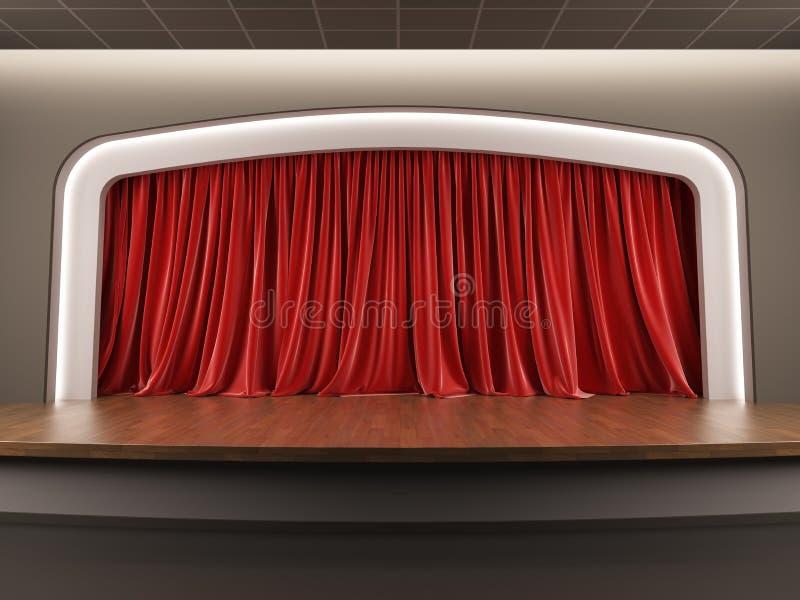 Пустой этап с красным занавесом бархата. иллюстрация штока