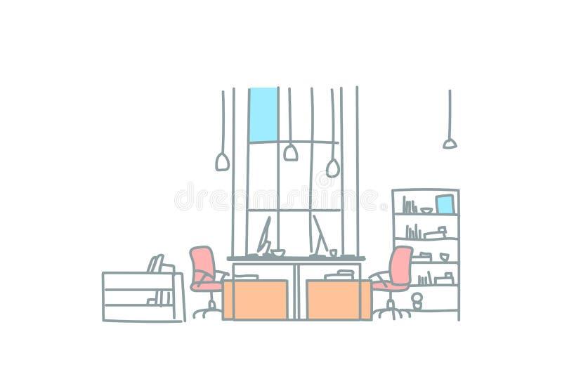Пустой coworking рабочего места офиса космоса эскиз места для работы co современного внутреннего творческого работая doodle гориз иллюстрация вектора