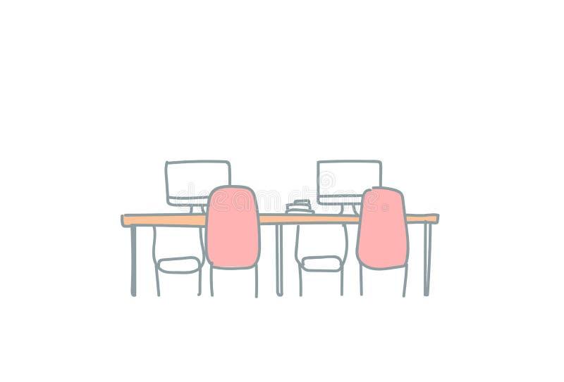 Пустой coworking рабочего места офиса космоса эскиз места для работы co современного внутреннего творческого работая doodle гориз иллюстрация штока