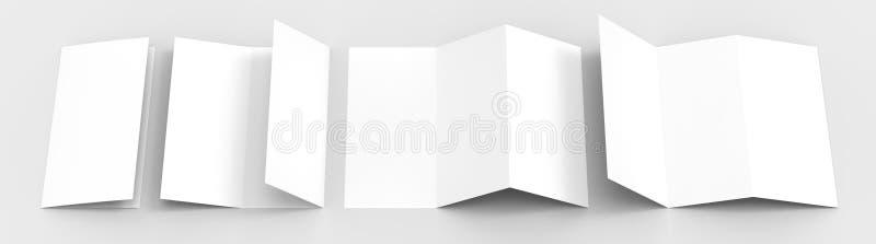 A4 Пустой trifold бумажный модель-макет брошюры на мягкой серой предпосылке иллюстрация штока