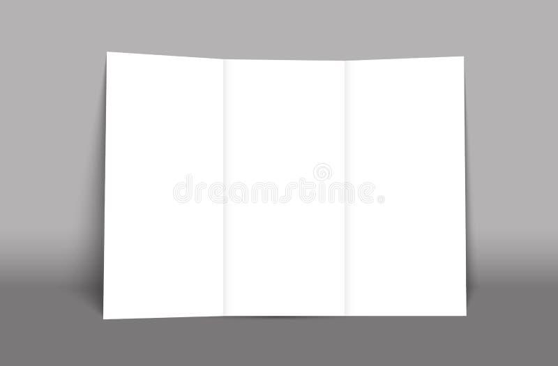 Пустой trifold шаблон крышки модель-макета брошюры изолировано иллюстрация вектора