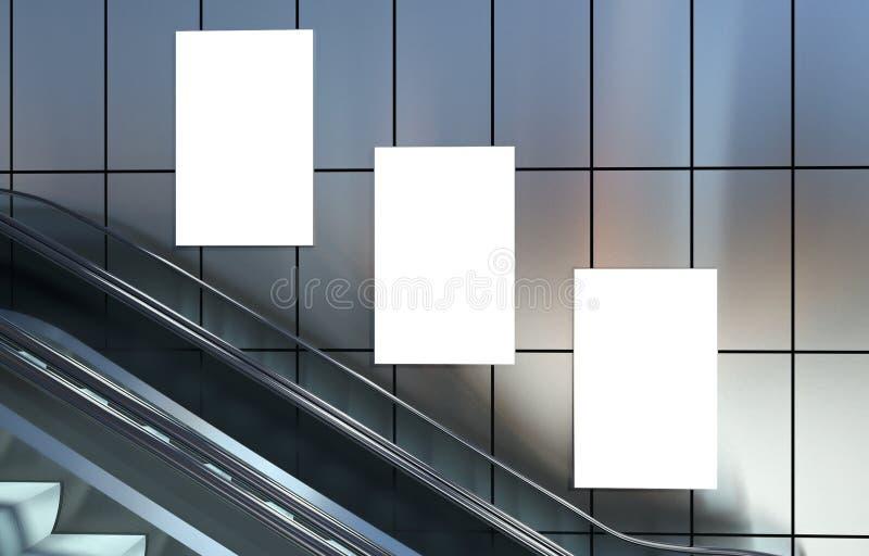 Пустые афиши рекламы и лестницы эскалатора иллюстрация штока