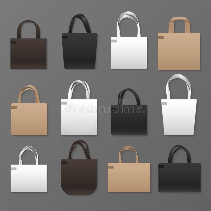Пустые белые, черные и коричневые шаблоны хозяйственной сумки холста Модель-макет сумок вектора иллюстрация вектора