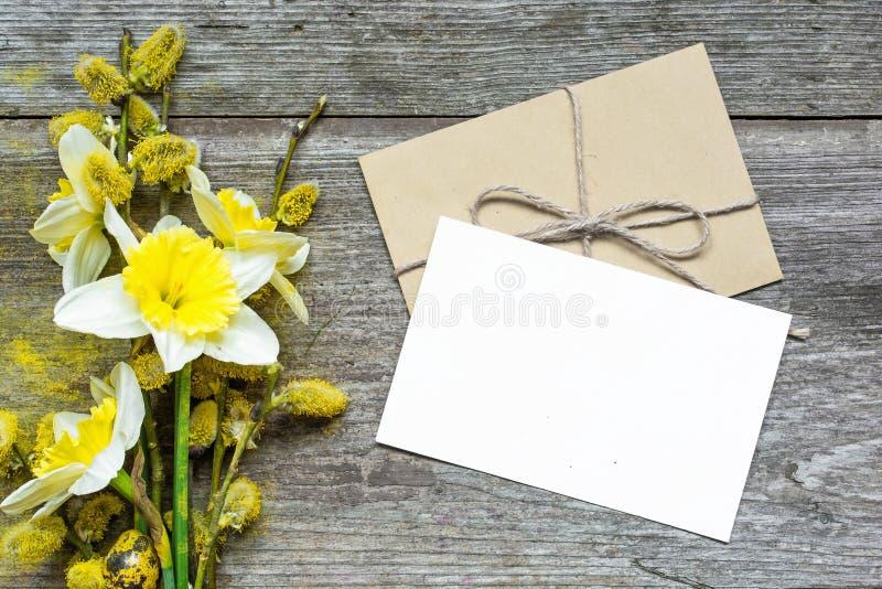 Пустые белые поздравительная открытка и конверт с цветками daffodil и стоковые фотографии rf