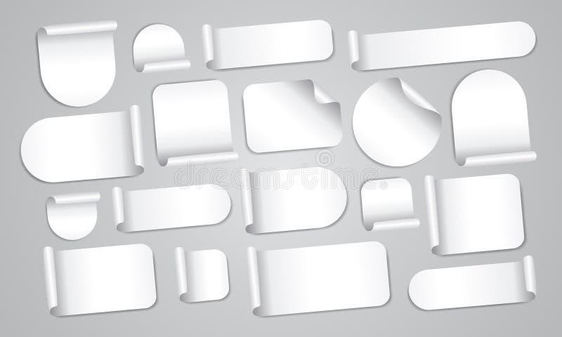 Пустые белые установленные стикеры бесплатная иллюстрация