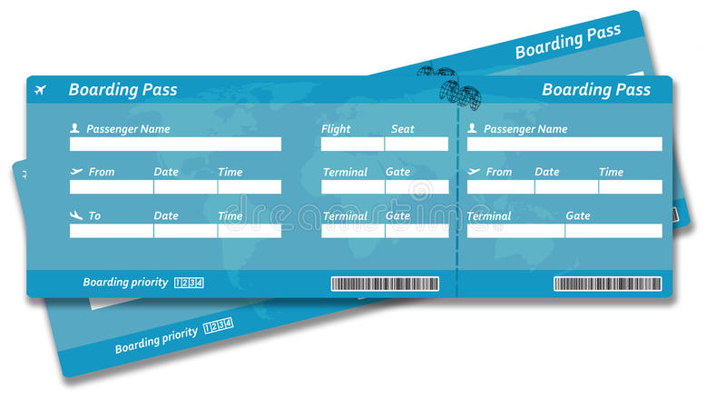 Пустые билеты посадочного талона авиакомпании иллюстрация штока