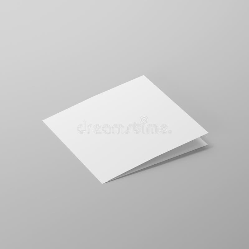 Пустые брошюра квадрата Bi-створки/листовка/памфлет/модель-макет поздравительной открытки иллюстрация вектора