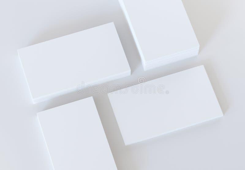 Пустые визитные карточки на серой предпосылке Модель-макет для клеймя идентичности стоковые фотографии rf