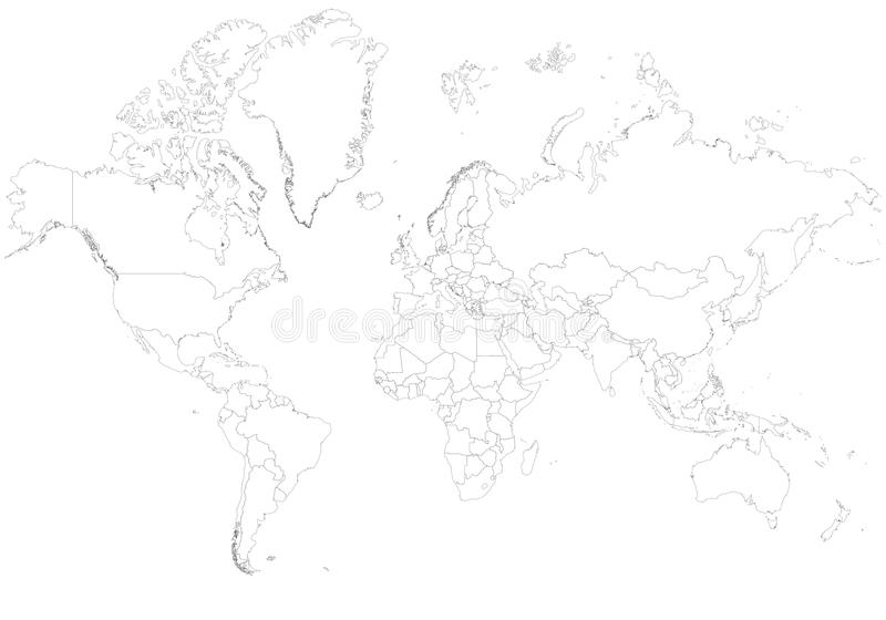 Пустые границы карты мира стоковое изображение